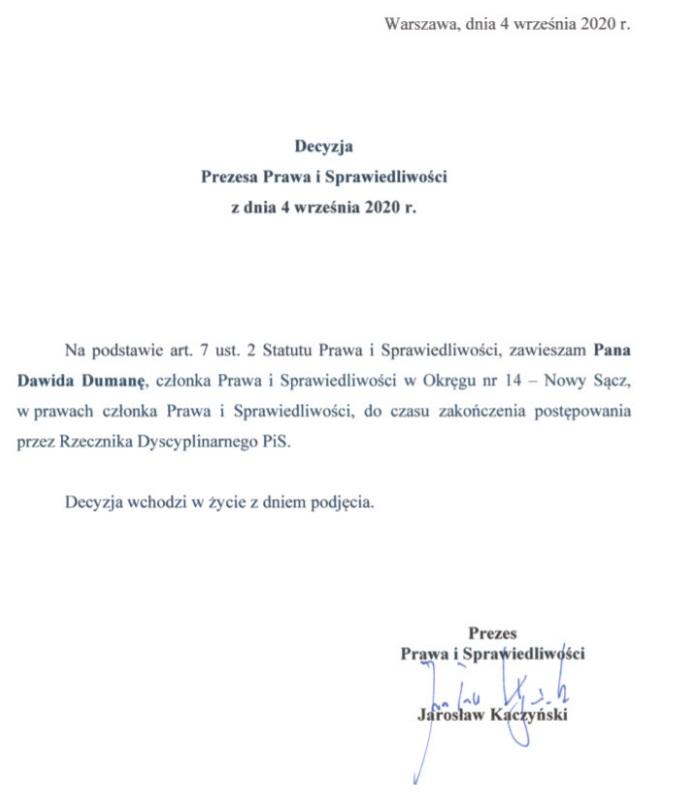 Dawid Dumana zawieszenie